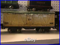 1930s PRE WAR LIONEL TRAIN ENGINE, TENDER, CRANE, REFRIGERATOR CAR, 7 PIECES