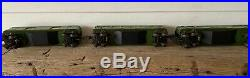 3 Lionel Prewar Green Train 2613 Pullman 2614 Observation 2615 Baggage Boxes