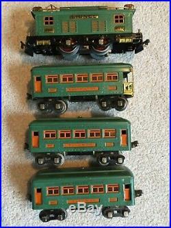 Great Lionel Prewar O Gauge Set 296 With 253 Engine, 607, 607, & 608 Orig Box