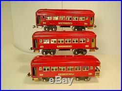 LIONEL ORIGINAL PREWAR No. 710 710 & 712 SET of RED O GAUGE PASSENGER CARS