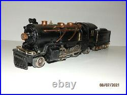 LIONEL Prewar O Gauge 262E Steam Locomotive 2-4-2 & Tender with Brass Trim