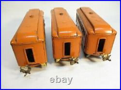 Lionel 605, 605, 606 Pullmans Orange Cream Macy Prewar O Gauge X4258