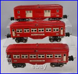 Lionel O Gauge Prewar Tinplate Passenger Cars 2600, 2601, 2602 3