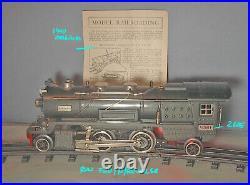 Lionel PREWAR Scarce GUNMETAL GRAY #260E 2-4-2 Steam Engine 1930- 35 C-7 +
