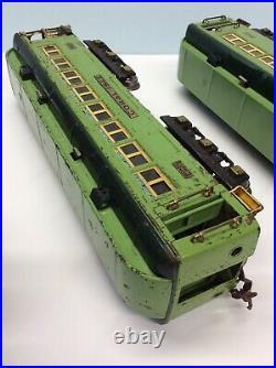 Lionel PreWar Standard Gauge 424,425, 426 Stephen Girard Passenger Cars Green
