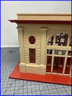 Lionel Prewar #117 O Gauge Lionel City Tin Train Station Cream & White Lt