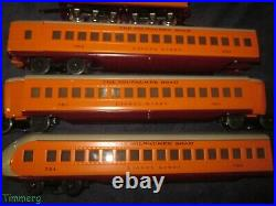 Lionel Prewar 250E & 250W Hiawatha Set with 782 783 784 Milwaukee Road Pass Cars