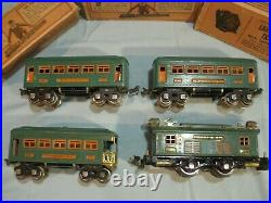 Lionel Prewar 253 Engine 2x 607 Pullman Cars & 608 Observation Car Peacock Green
