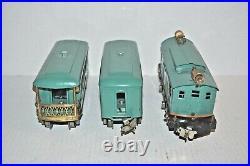 Lionel Prewar 253e Loco & 607, 608 Passenger Cars O Gauge Repainted Works