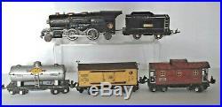 Lionel Prewar 259e Steam Engine & Tender, 654, 655, 657 Freight Cars Set