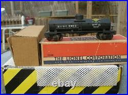 Lionel Prewar #2955 Semi-Scale Sunoco Tank Car Original Box, Insert, cloth wrap