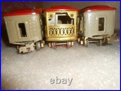 Lionel Prewar 600 601 602 Gray & Red Passenger Cars 0 Gauge