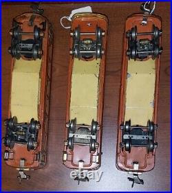 Lionel Prewar 613, 614, 615 (Pullman, Observation, Baggage Cars) Terra-Cotta