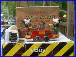 Lionel Prewar O Ga. No. 1100 Clockwork Red Mickey Mouse Hand Car WithTrack Boxed