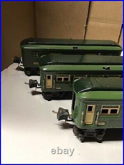 Lionel Prewar O Guage 2613 2614 2615 Green/Dark Observation Baggage& Pullman Car