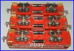 Lionel Prewar Red Lighted (2)710 Pullman Cars & 712 Obs. Car Set 1924-1934