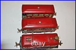 Lionel Prewar Red Train Set 248 Engine & 629, 630 Passenger Cars O Gauge