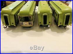 Lionel prewar standard gauge 400 series apple green 4 passenger cars