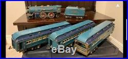 PREWAR LIONEL BLUE COMET STANDARD GAUGE SET withCOPPER TRIM 390E 400T 420 421 422