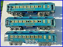 Prewar Lionel Std. Gauge Blue Comet Pass. Set Faye, Westphal and Tempel Cars
