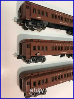Three Lionel 2623 Pre-War Passenger Cars Manhattan Irvington